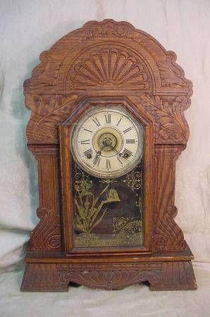 Antique Sessions Pressed Oak Kitchen Clock Antiques Antique Clocks Antique Wall Clock