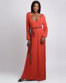 338d09a632f Black Buttons Belted Maxi Dress Orange | spree | Dresses, Dresses ...
