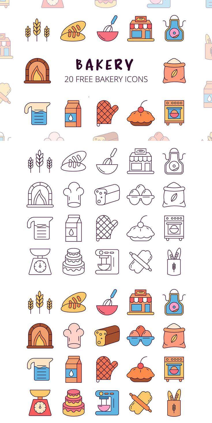 Free Bakery Vector Icon Set Coffee Icon Ideas of