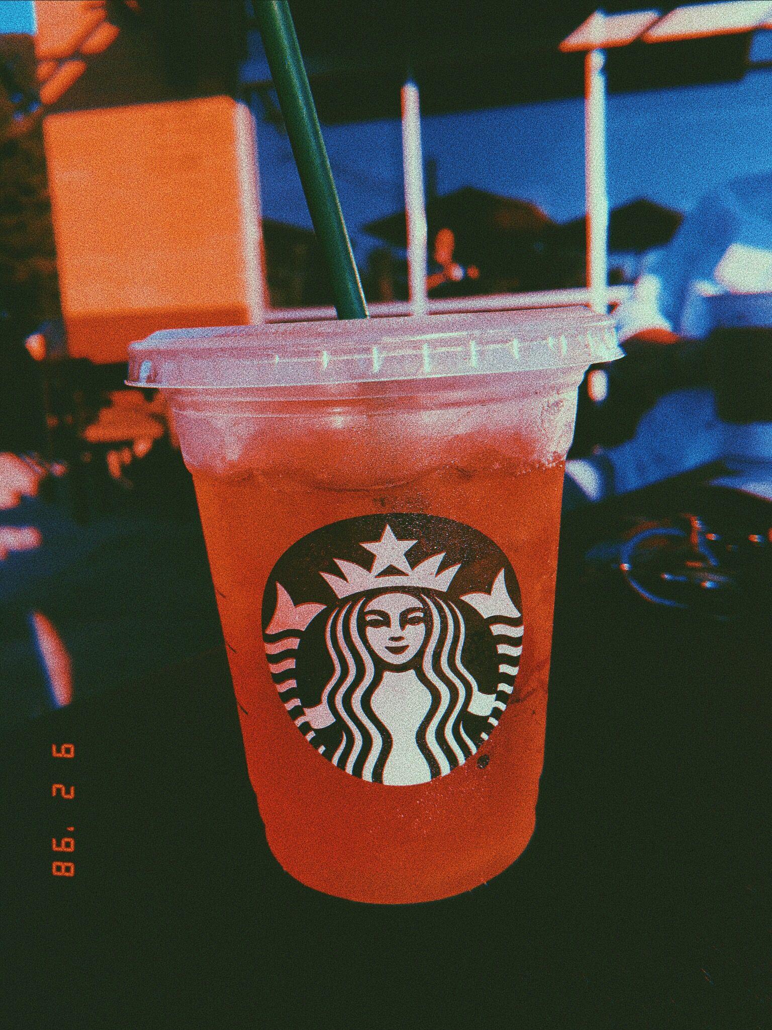 vsco starbucks tea aesthetic photography peach