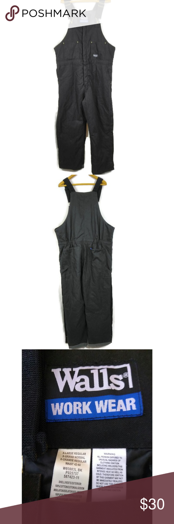 walls work wear overalls walls work wear overalls size xl on walls workwear insulated coveralls id=98144