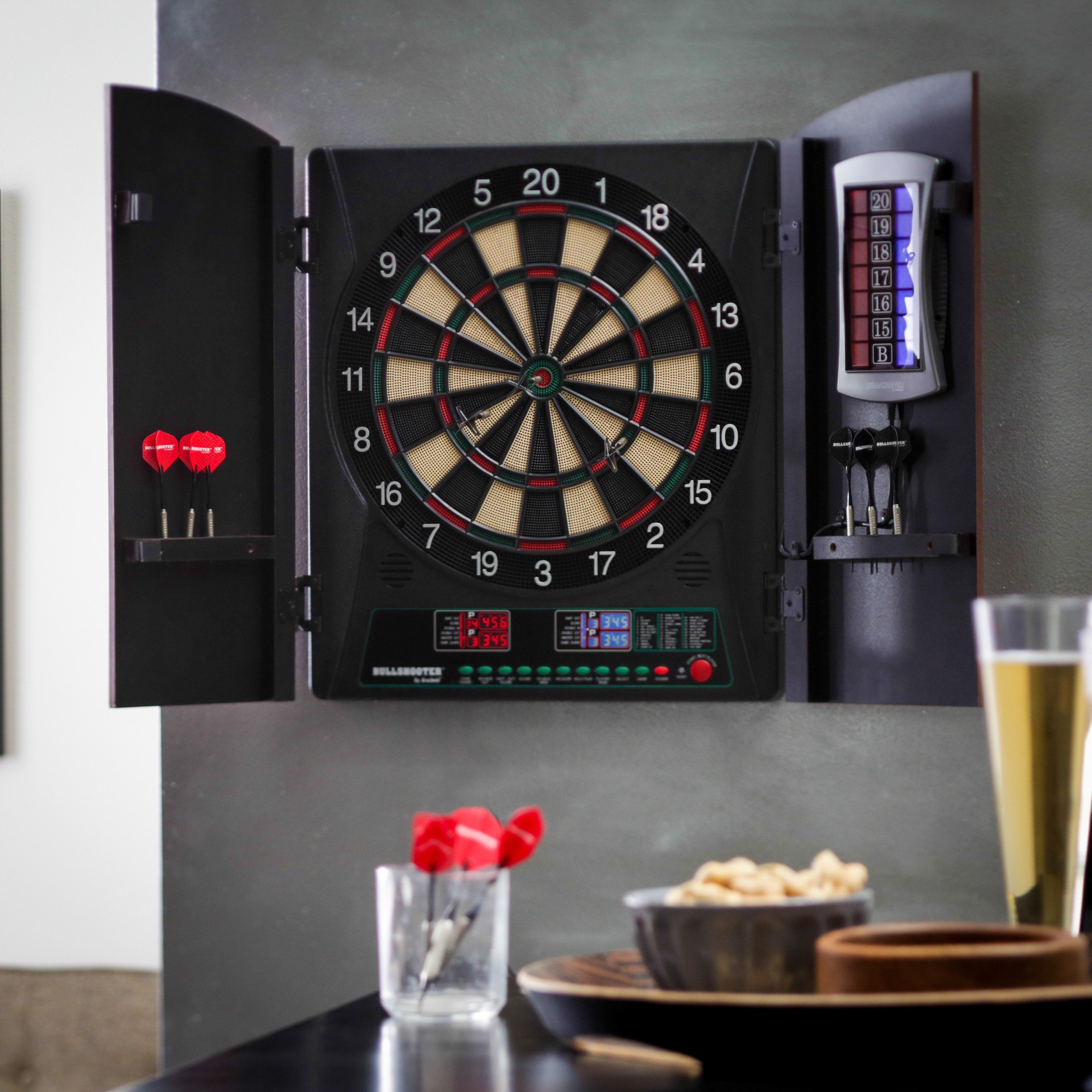 have to have it bullshooter by arachnid crickettmaxx 1 0 electronic rh pinterest com electronic dartboard with black cabinet electronic dartboard with wood cabinet