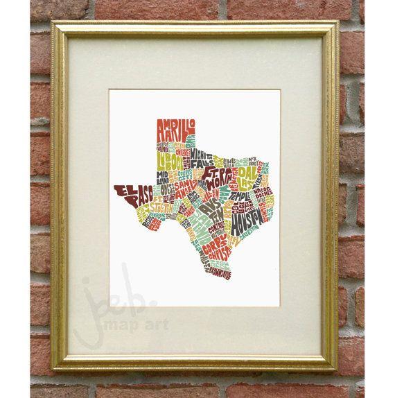 Texas map art, Texas art print, Texas typography map, map of Texas ...