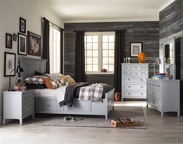Graylyn Coastal/Cottage Grey Wood Kids Bedroom Set