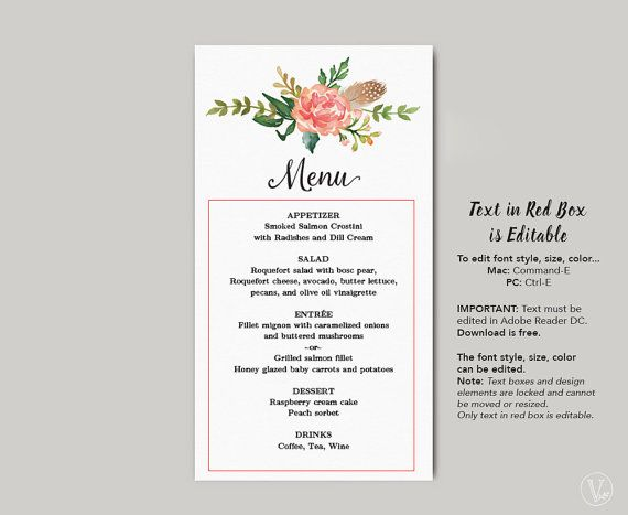 Printable Wedding Menu Template Diy Wedding Menu Simple And