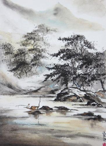 Aquarelle abby rochers peinture chinoise p cheur p che barque mer pins arbres - Dessin arbre chinois ...