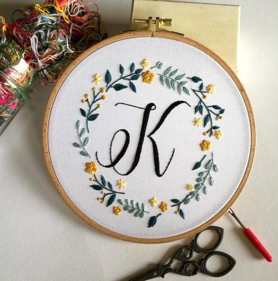 Photo of Monogram Embroidery Hoop, Embroidery Hoop Art, Custom Monogram Sign, Flower Emb …