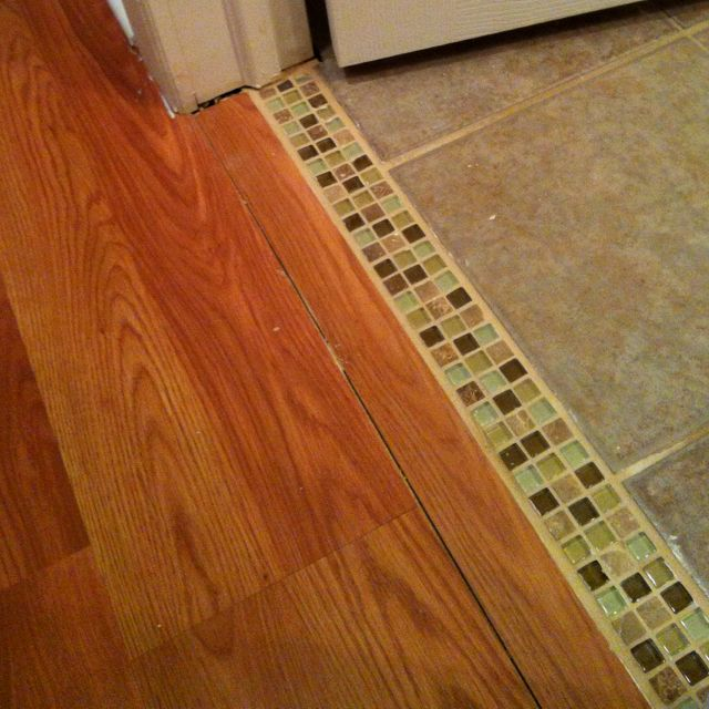 Creative Tile Moulding Trim Between Tile Bathroom And Laminate Flooring Love The Transition Rather Than