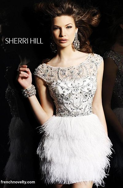 5111ef43074d3 Sherri Hill Short Party Dress 2947 with Feather Skirt I want this for my  bridal shower!