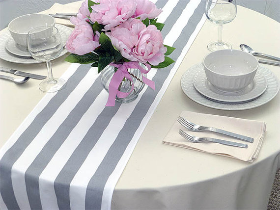 Ordinaire Grey White Stripes Table Runners For Wedding Decor, Birthday Parties, Party  Decor, Holidays On Etsy, $11.95