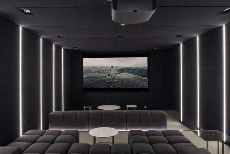 This Contemporary Home Has A Dark Home Theatre Room With