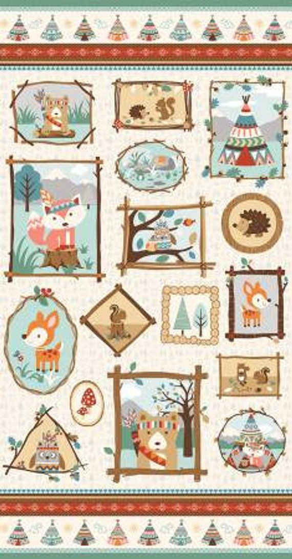 Baby Woodland Fabric Panel Forest Animals Indian Tribal