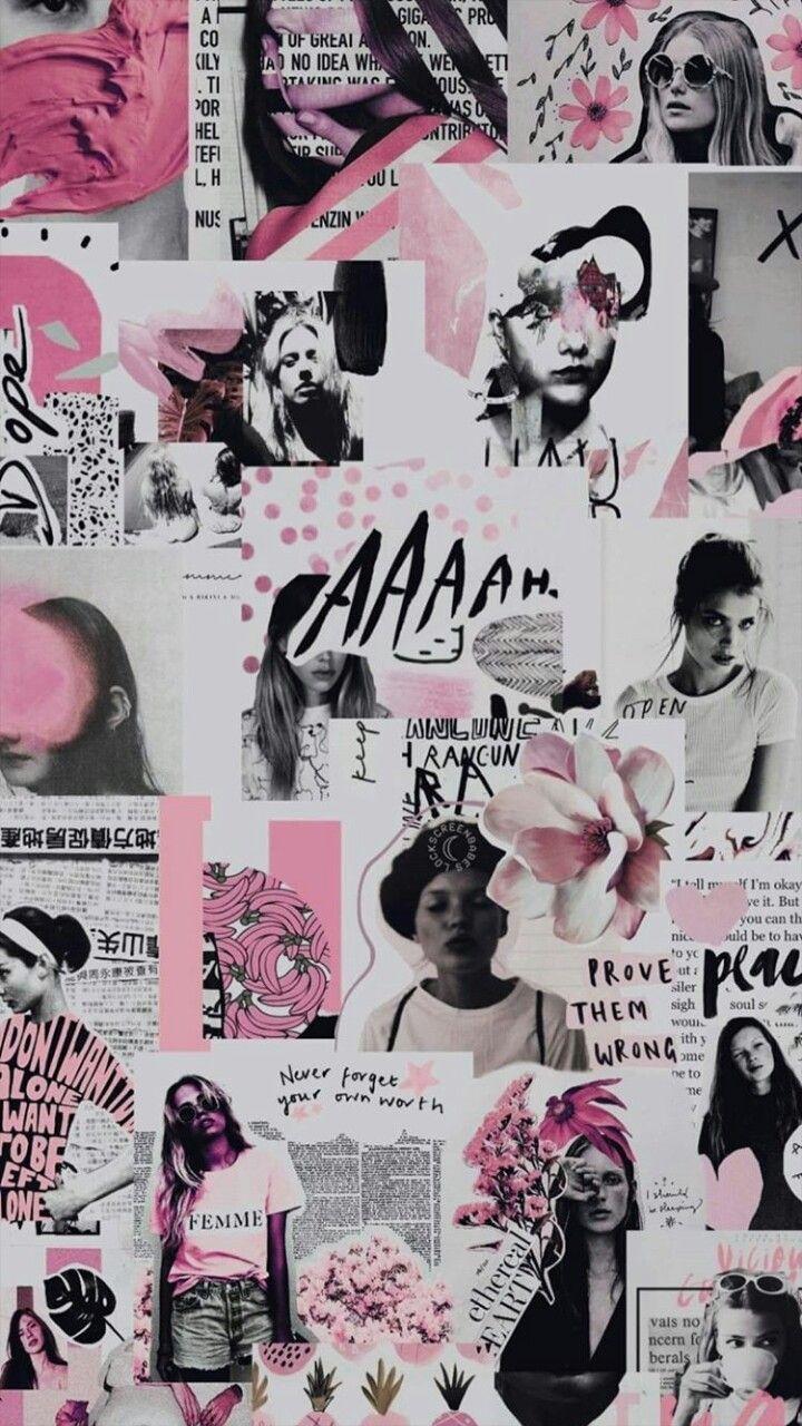 Collage Collage Latar Belakang Wallpaper Ponsel Estetika Biru