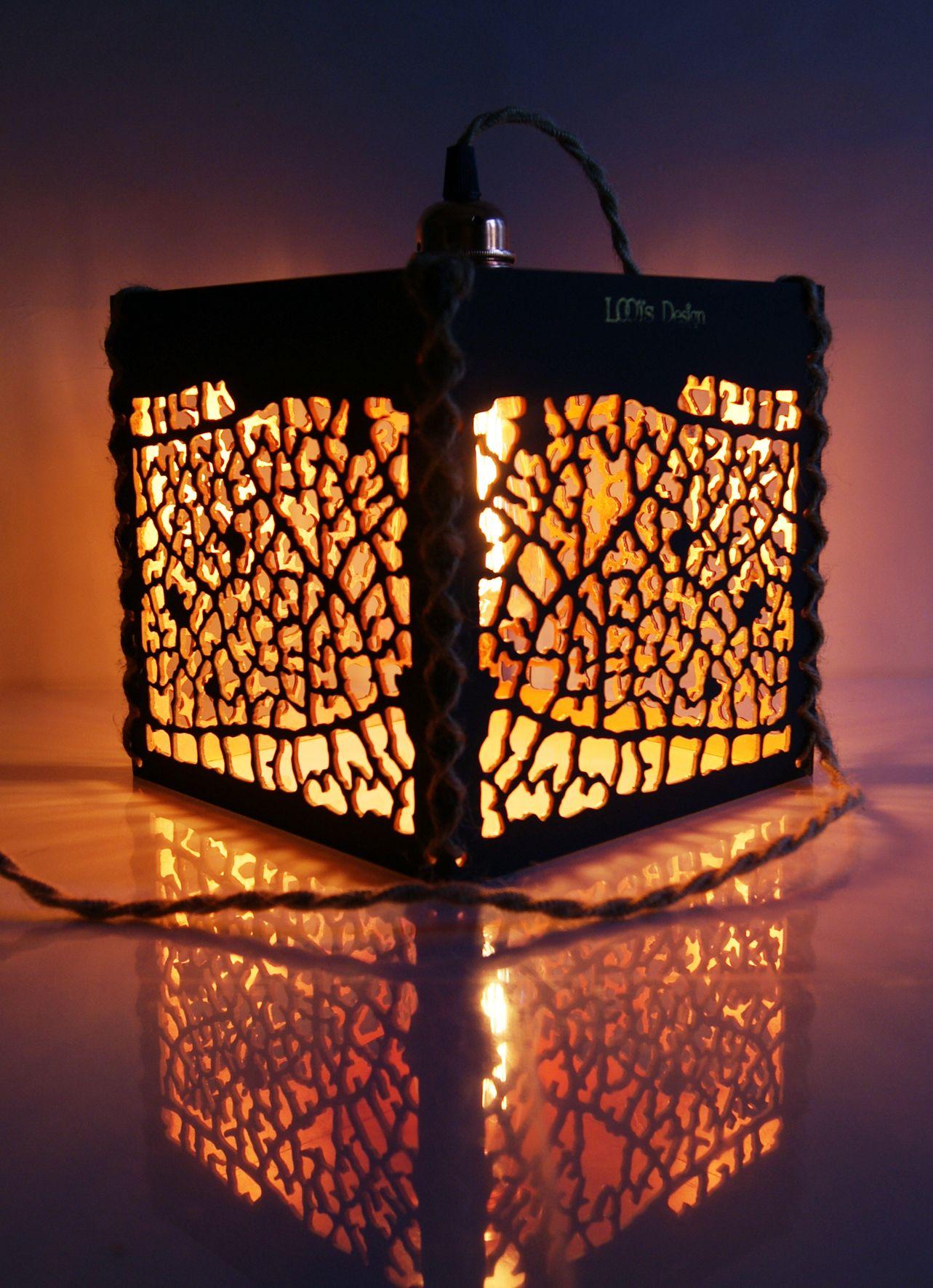Lampe baladeuse cloche Fall bois noir cuivre dorure feuille de