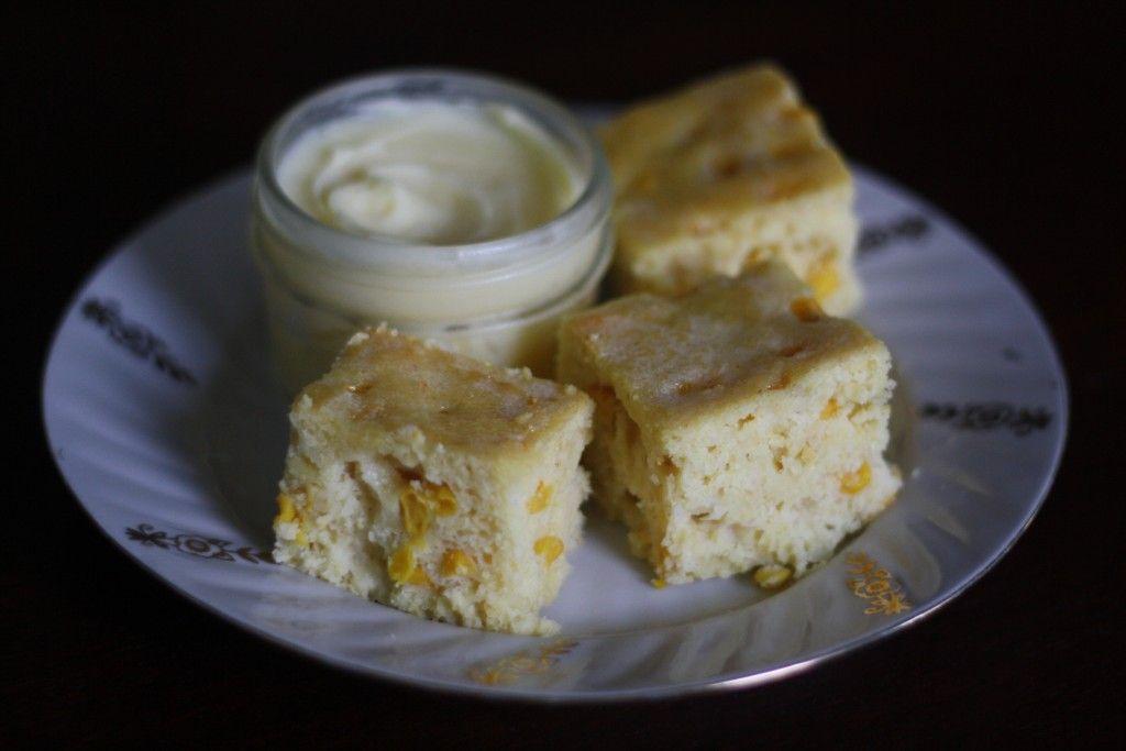 sour cream cornbread + honey butter