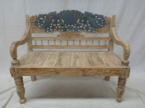 Balinese hand carved recycled teak timber day bed bench