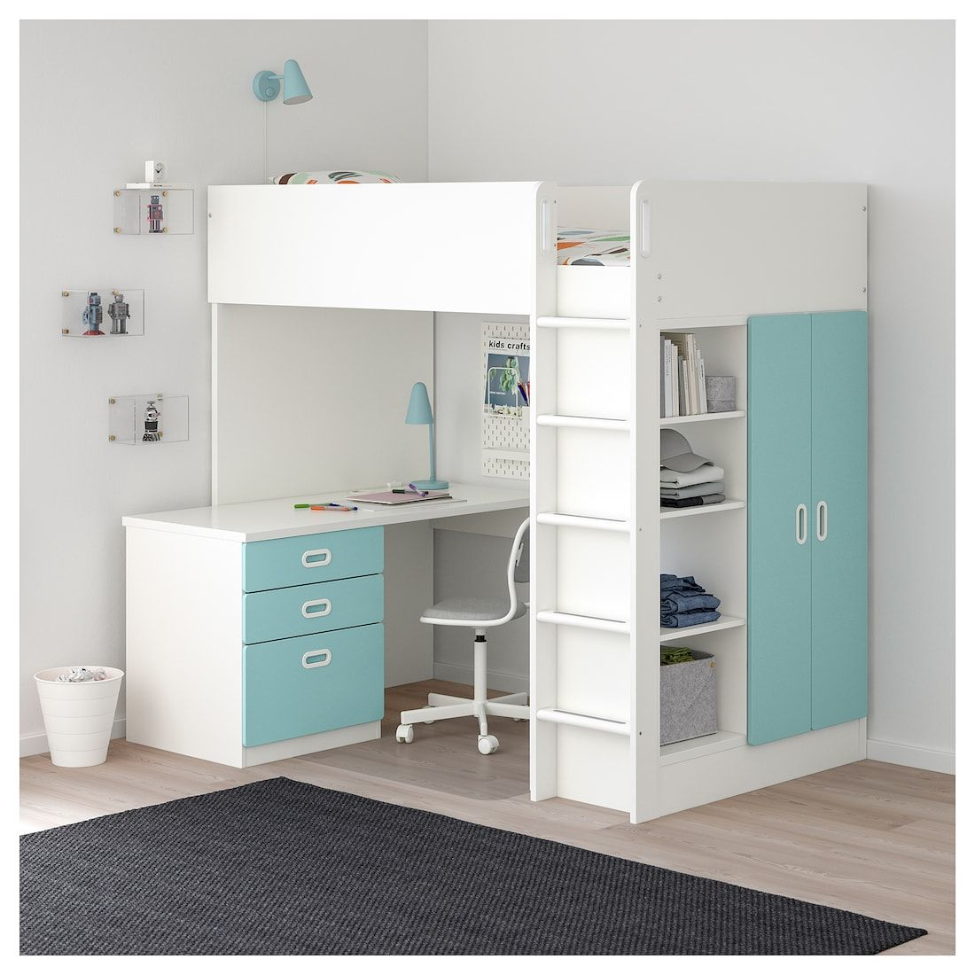 STUVA / FRITIDS Loft bed with 3 drawers/2 doors white
