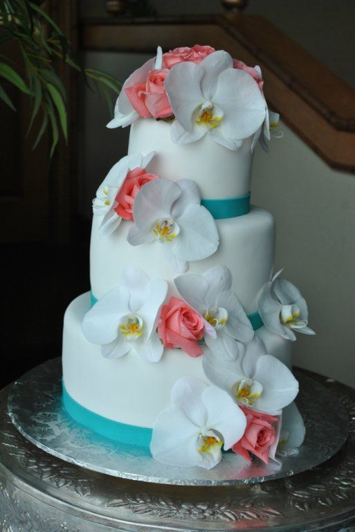 teal wedding cake toppers teal white pink wedding cake beautiful orchids and 20789