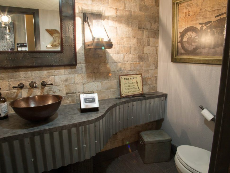 Bathrooms. Industrial Style Bathrooms Decorating Ideas. Gray Stain Wall  Featuring Gray Stain Polywood Bathroom Part 46