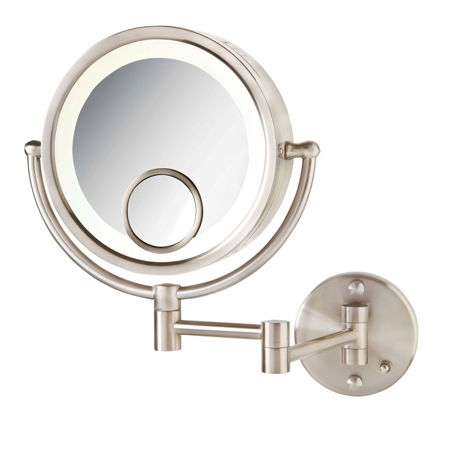 Halo Swinging Lighted Round Vanity Mirror With Insert In Brushed