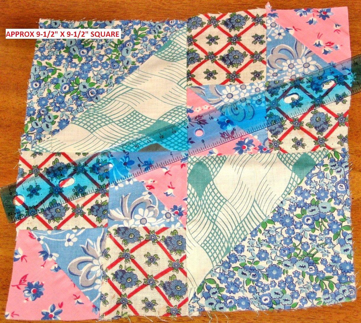 1930s-40s Vintage Quilt Block Feedsack Fabric Cotton Geometric Print ...
