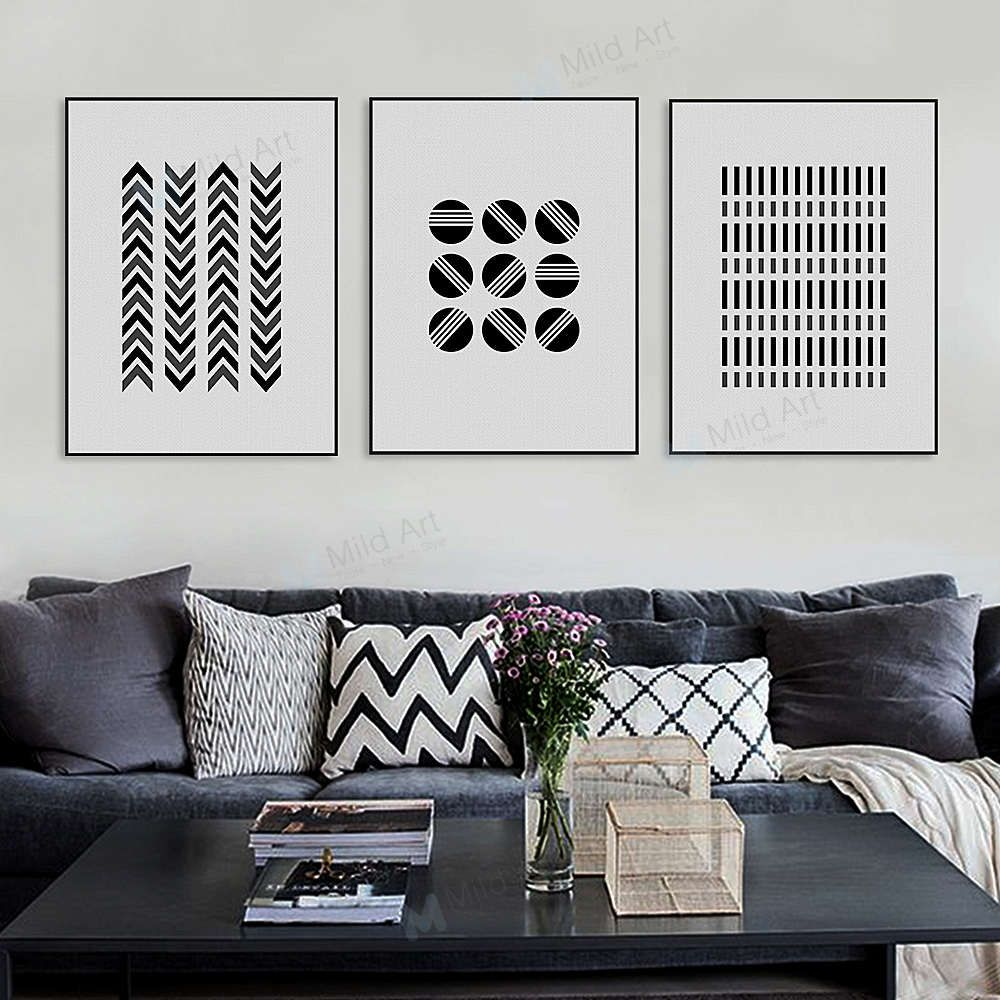 Black White Modern Original Abstract Geometric Home Decor Paintings Decor Above Sofa Geometric Wall Art
