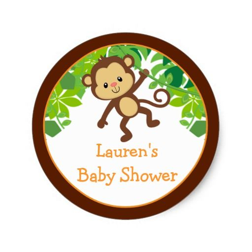 Safari Monkey Baby Shower Favor Stickers