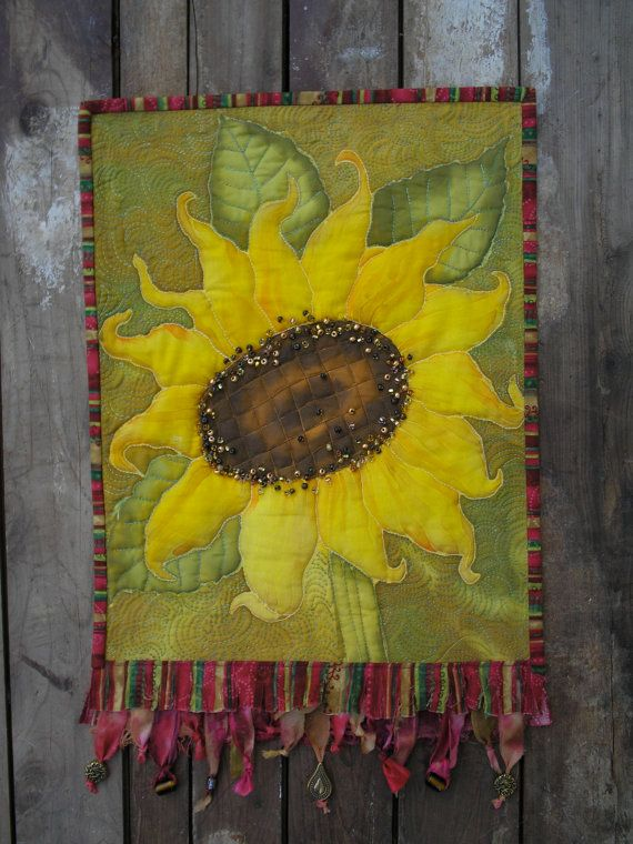 Sunflower Art Quilt Hand Painted Quilted Wall Hanging   Sunflower ...