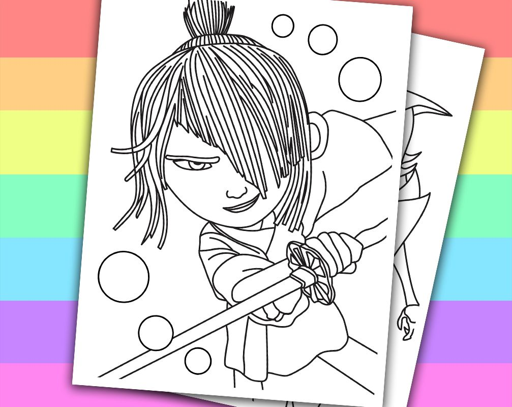Kubo and the Two Strings Birthday 4 Coloring Pages Printable Instant ...