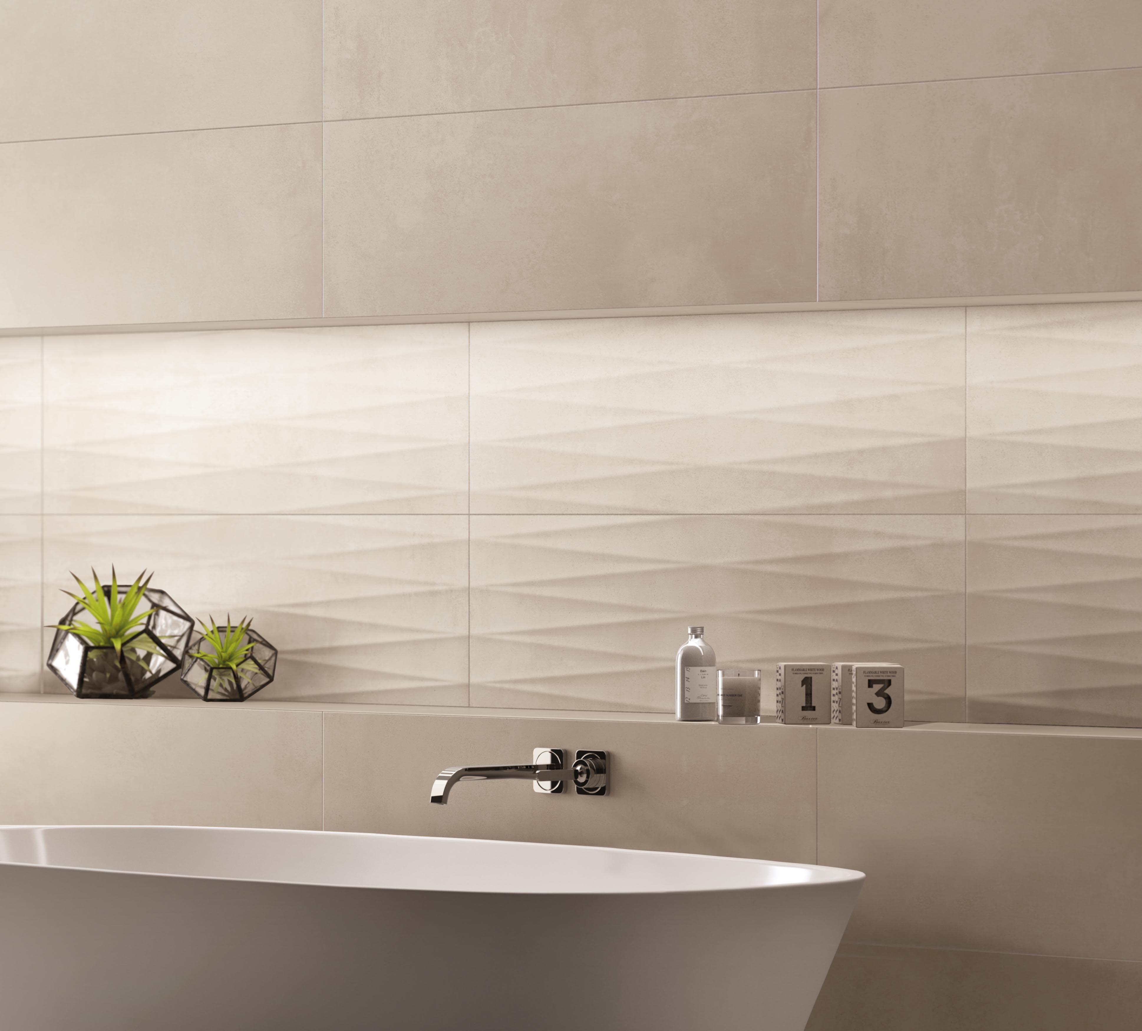 Rivestimento bagno effetto cemento colore clay e silk della collezione art art cemento in - Rivestimento bagno design ...