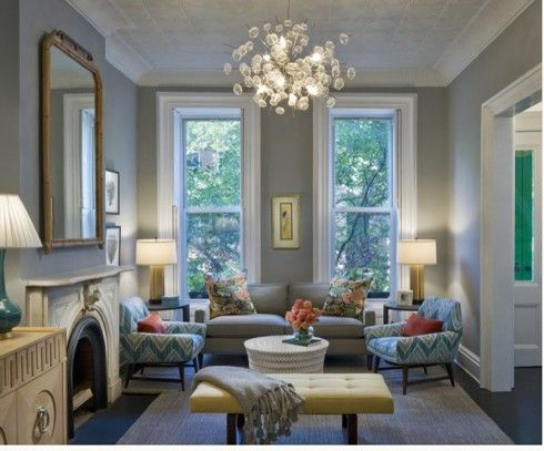 Modernized Victorian Living Room Gray WallsLight