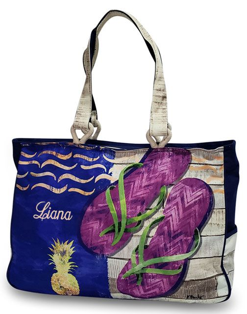 Flip Flop Beach Tote Monogram Embroidered Products I