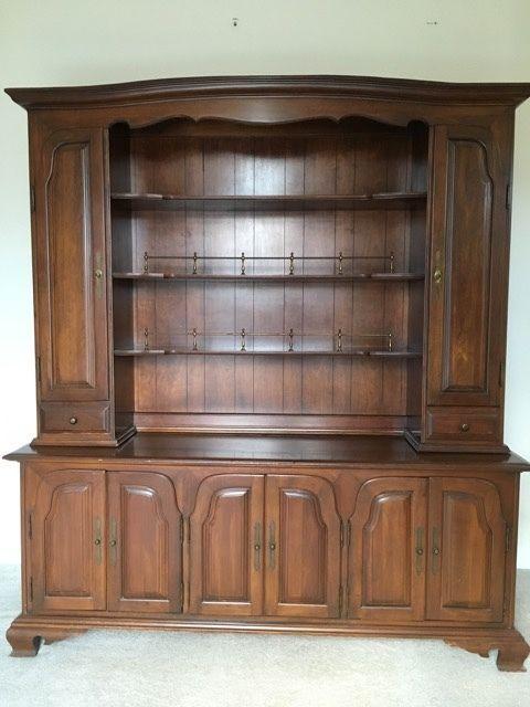 Vintage Willett Cherry Wood Hutch China Cabinet
