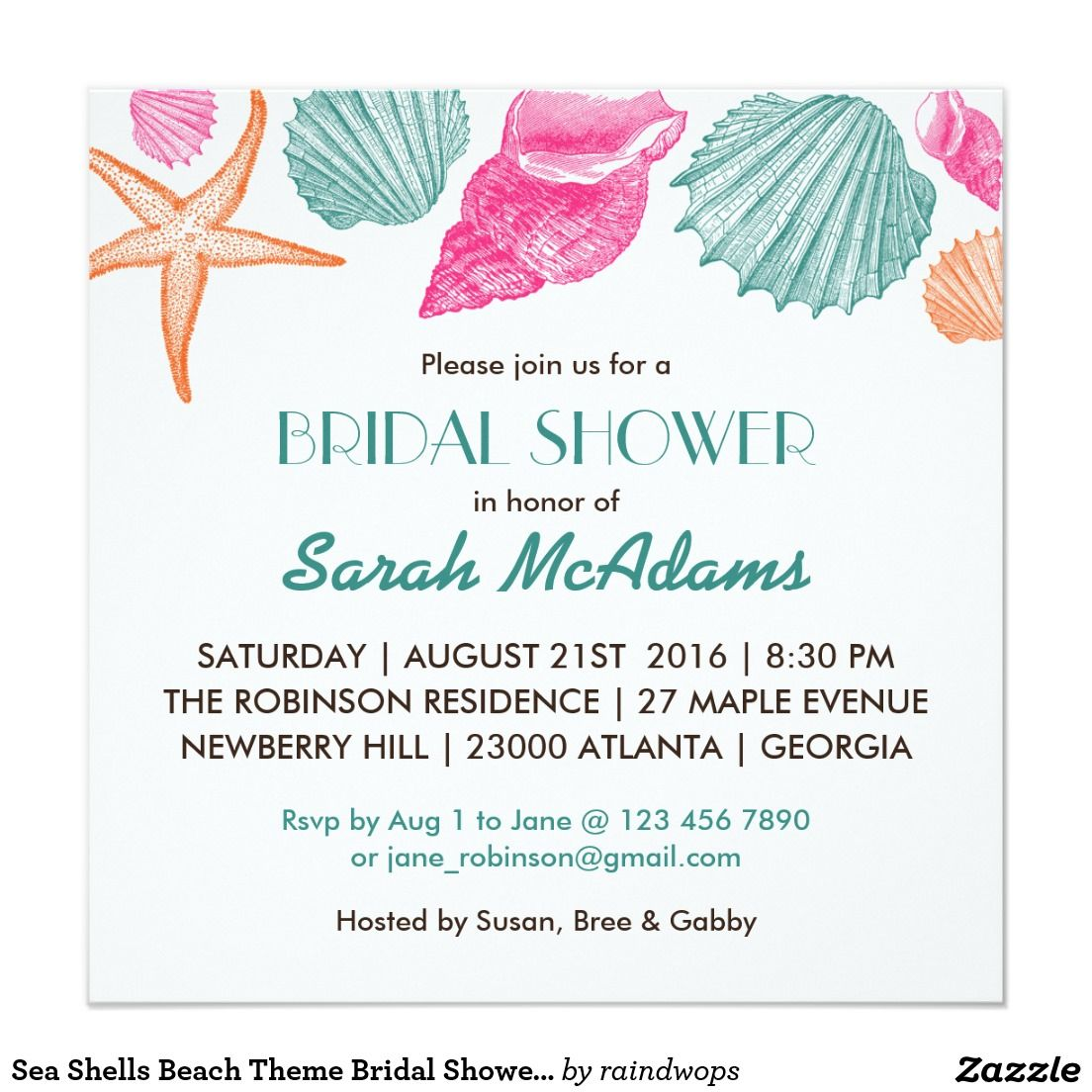 Gmail beach theme pictures - Sea Shells Beach Theme Bridal Shower Invitation