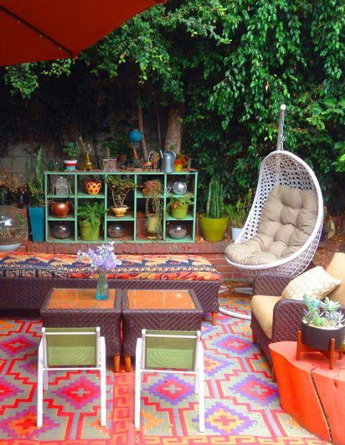 Bohemian Backyards Porches And Patios Patio Furniture Outdoor Decorating Ideas Boho Backyard