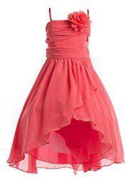 Wedding House,Chiffon Blumenm?dchenkleid Kommunion Kleid mit Sch?rpe und Blumen,FG100