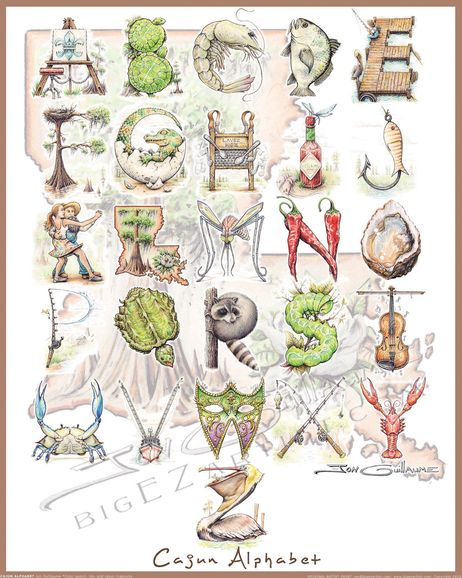 Cajun Alphabet Poster Big Ez Artist Alphabet Poster Alphabet Print Vinyl Art