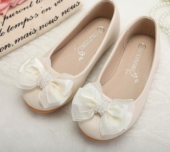 075a57633978e Ivory Flower Girl Shoes/ Toddler Girl Shoes/Bow Party Shoes/Crystal ...
