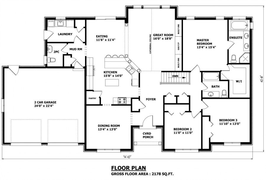 2178 sq ft Amazing Custom Homes Plans  1 Floor House Design