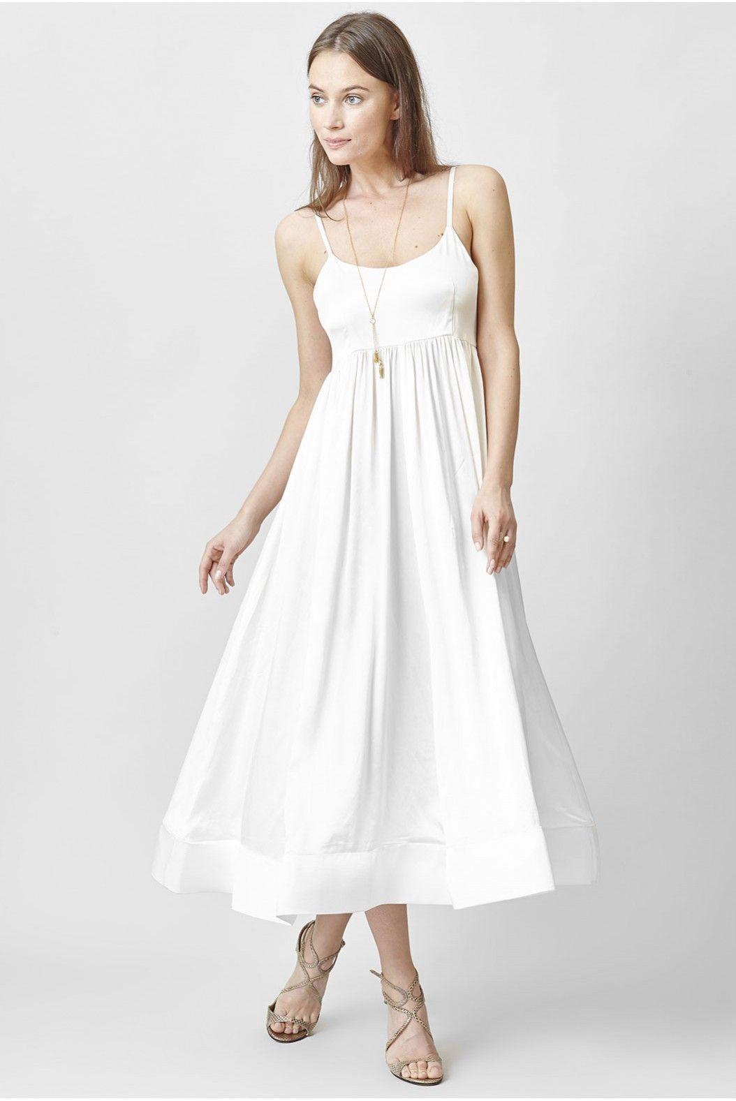 Robe blanche mi longue coton