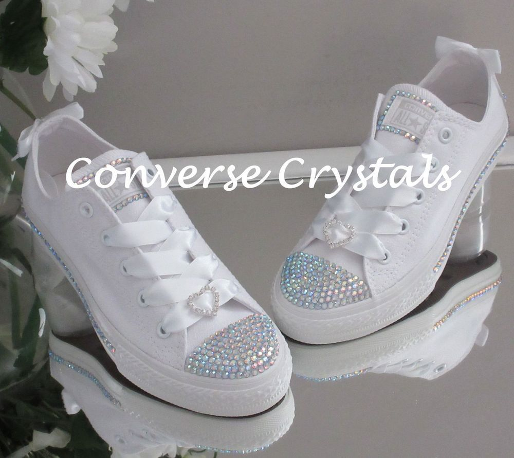 e9a4e133cede3d Mono White Junior Girls Bridesmaid Custom Crystal  Bling  Converse Sizes  11-2 in Clothes