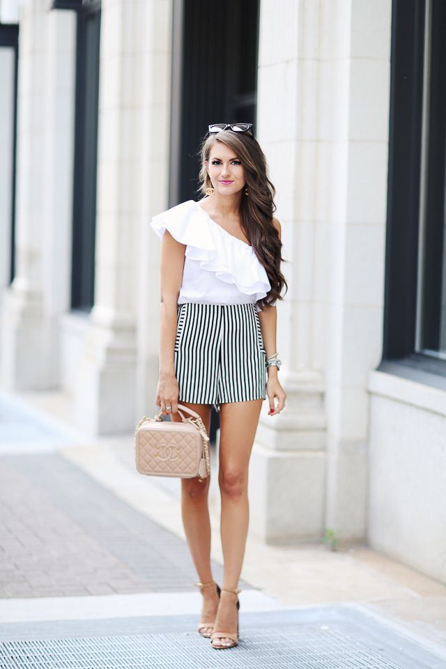 One Shoulder Top   Striped Shorts | Southern Curls & Pearls ...