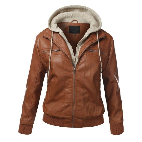 J.TOMSON PLUS Womens PU Faux Leather Zip-Up Bomber Jacket Plus Size at... ($33) ❤ liked on Polyvore