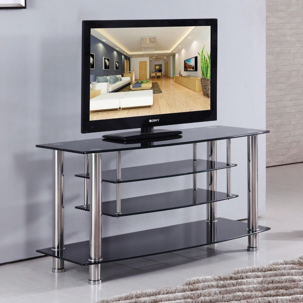 Black Chrome Tiered Tempered Glass Tv Stand Shelves Furniture