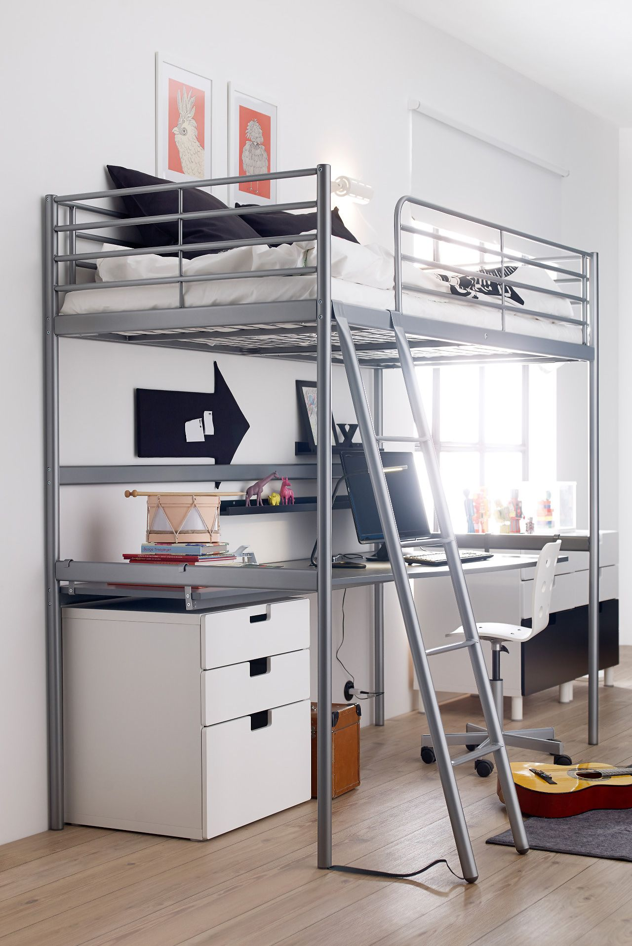 Loft bed with desk girls   Full Size Modern Loft Beds for Adults  Modern lofts Tiny