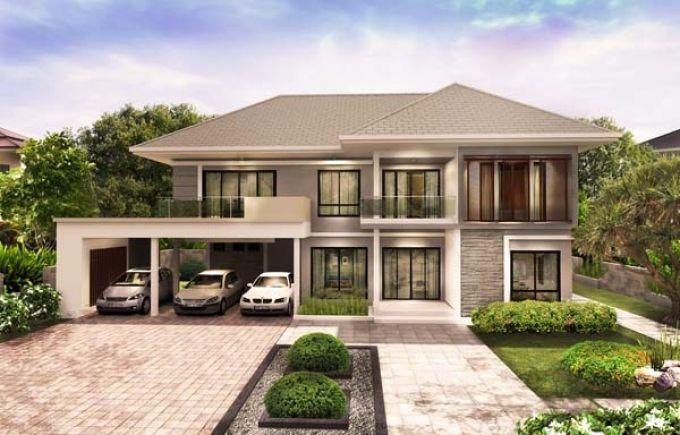 แบบบ าน 2 ช น สไตล โมเด ร น ทรอป คอล Modern Style House Plans Facade House House Outside Design
