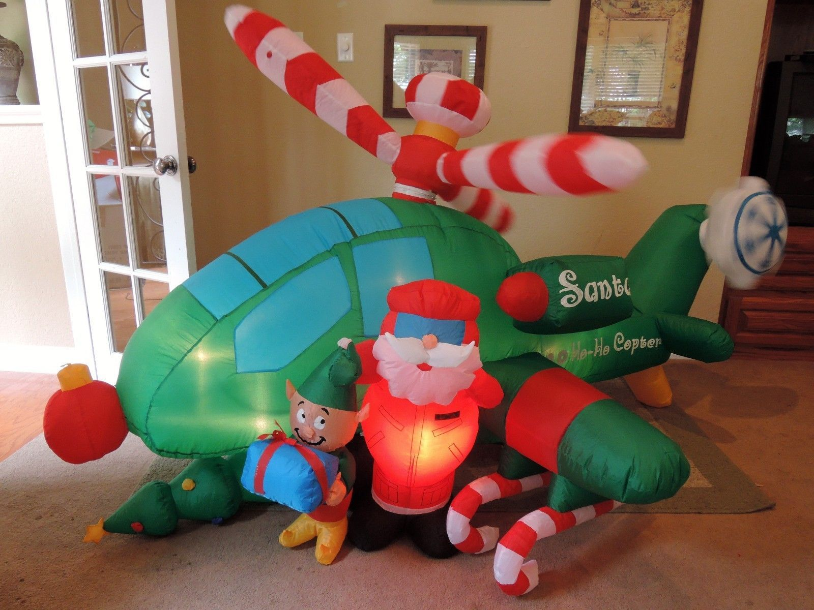 Santa Airblown Inflatable Helicopter Reindeer Led Lighted Christmas Yard Decor
