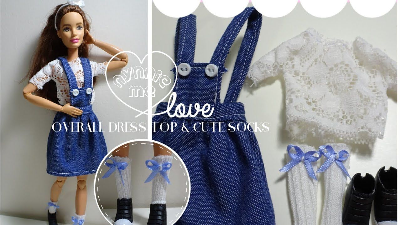 DIY How to make ; Jean overall dress , white lace top and