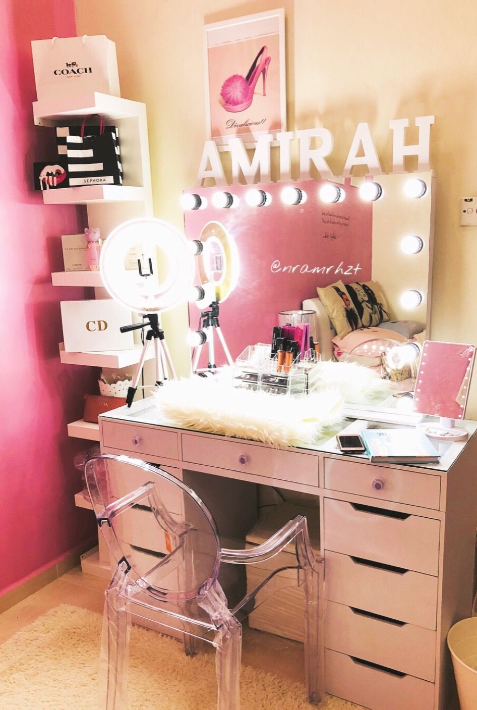 Vanity Table Vanity Mirror With Light Makeup Vanity Pink Vanity