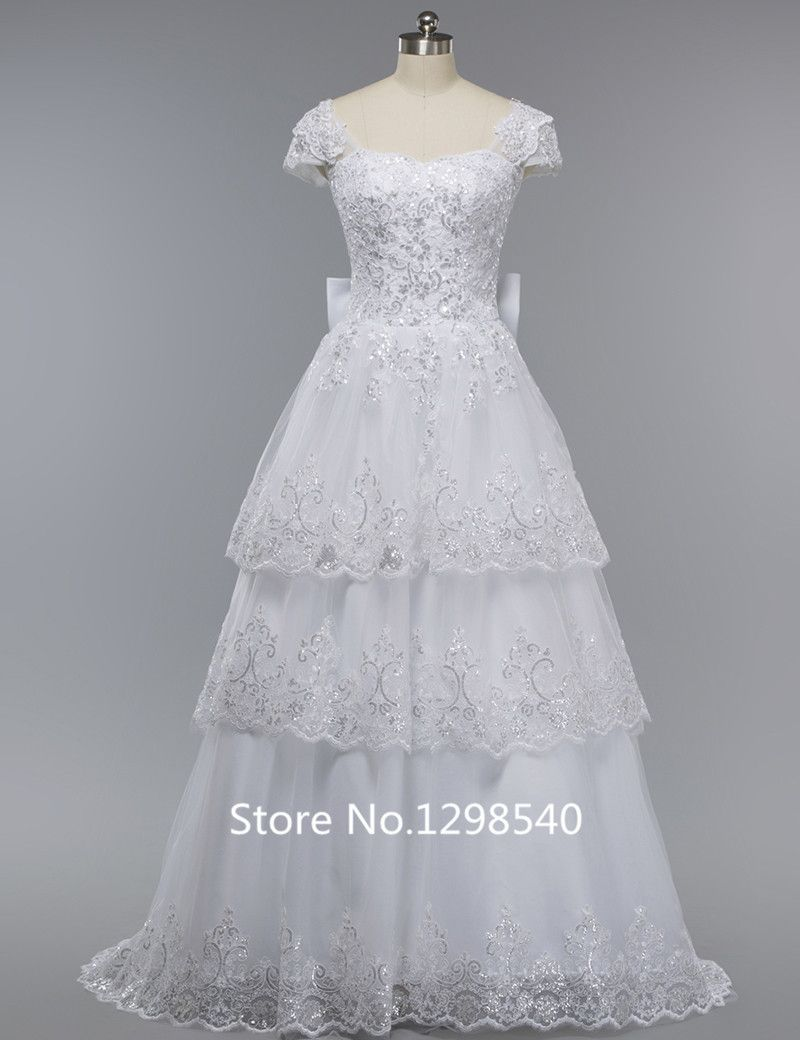 Lace wedding dress open back say yes dress  Click to Buy ucuc Dubai Luxury Rhinestones Lace Sequins Wedding Dress
